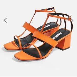 NEW TopShop orange square toe leather sandals